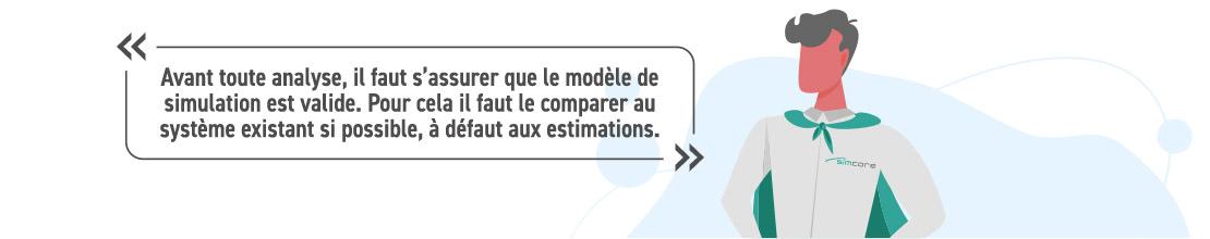 Avant toute analyse, il faut s'assurer que le modèle de simulation est valide. Pour cela il faut calibrer le modèle en le comparant au système existant, à défaut en comprarant avec les études statiques.