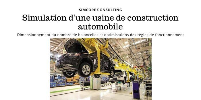 SIMCORE vient de réaliser la Simulation d'une usine de construction automobile. La zone modélisée comporte 5 lignes de montage liées entre elles par des systèmes de balancelles.