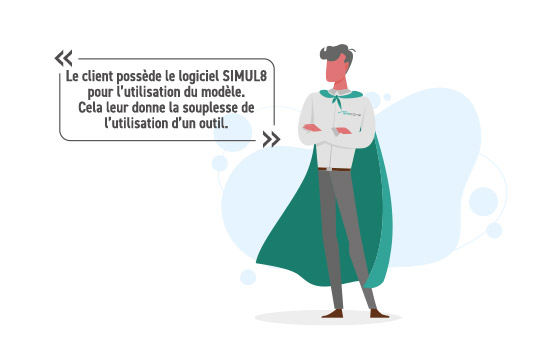 Le client possède le logiciel SIMUL8 pour l'utilisation du modèle.