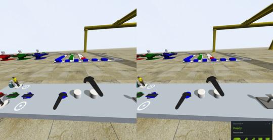 Pero esta no es una simple visita virtual, puedes interactuar con los elementos de la simulación a través de los joysticks y por lo tanto modificar el curso de la simulación.
